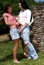 Hotties enjoy cunnilingus outside from Sapphic Erotica