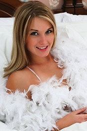 18 year old Jewel naked and overed in feathers from Private School Jewel